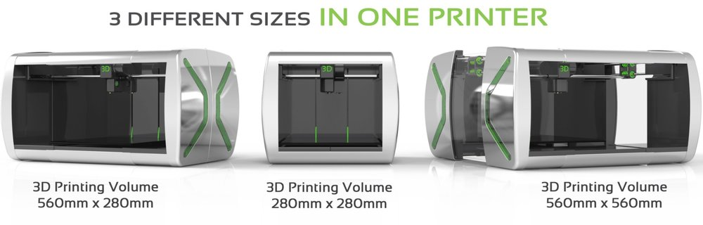 The three (or should it be four?) sizes of the Xtreme 3D printer