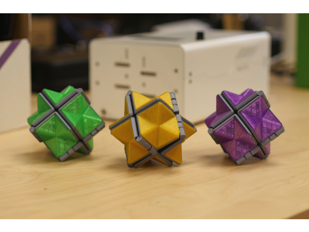 A colored version of the 3D printed Fidget Star by Mosaic Manufacturing