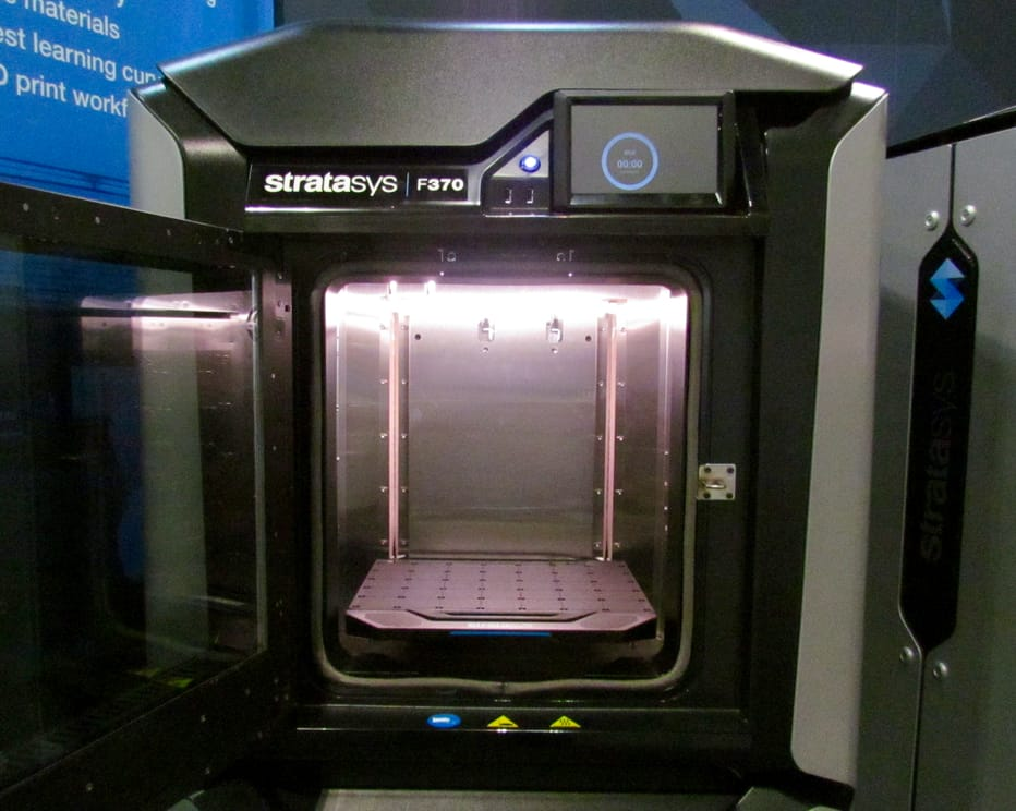 Inside the F370, a member of Stratasys' new F123 series of prototyping 3D printers