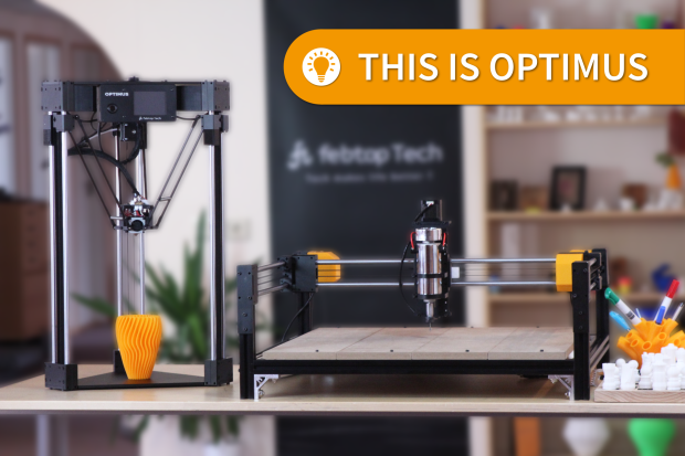 The Optimus combo 3D printer, laser engraver and CNC mill