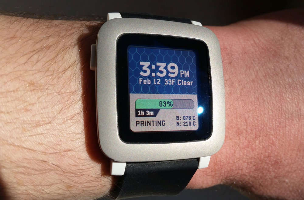 Monitor 3D prints from your wrist