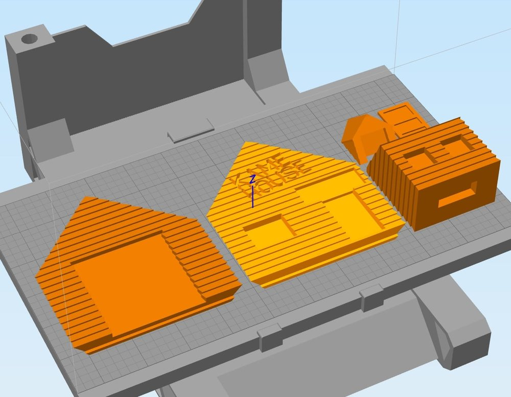 A typical 3D print plate showing some of the parts for the Kame House 3D model
