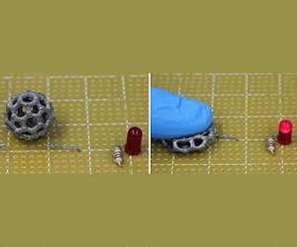 A 3D printed buckyball using new elastometric materials