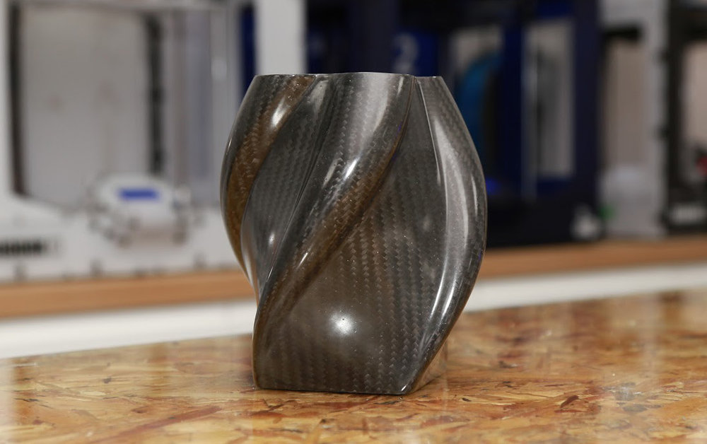 A fun - and very strong - shape made with carbon fiber from a 3D printed mold