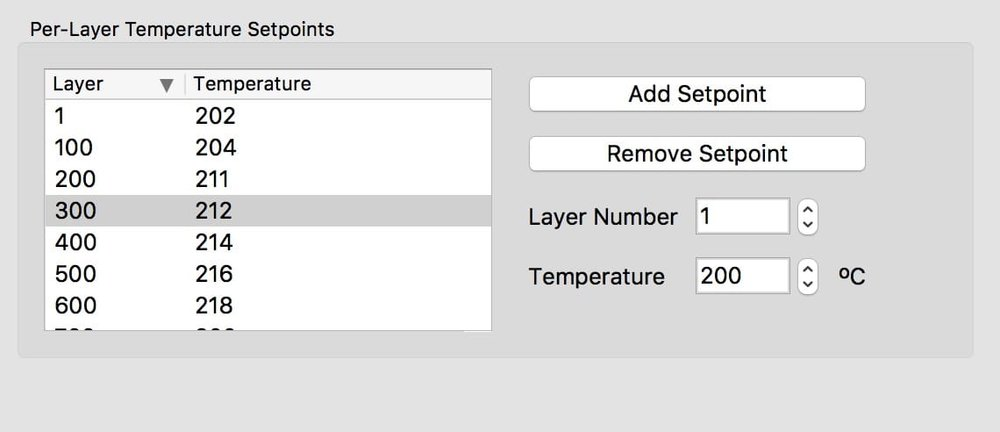 Setting layer temperature switches in Simplify3D