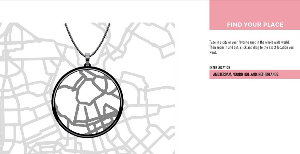 Designing a geo-based pendant using DecodedHeart. This is Amsterdam!