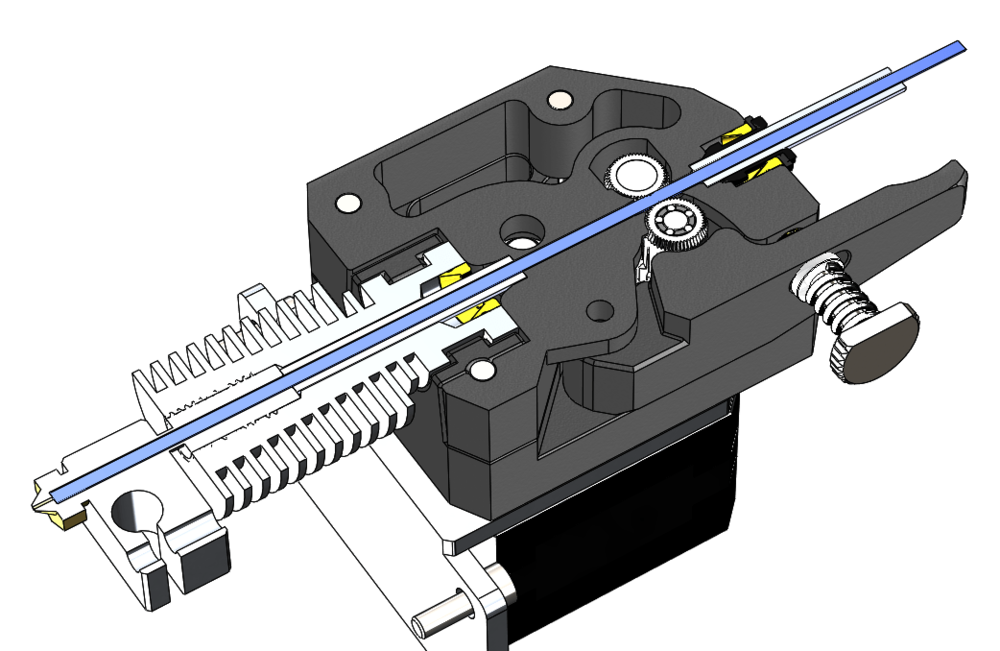 Cut away view of Bondtech's new BMG Extruder showing dual drive features
