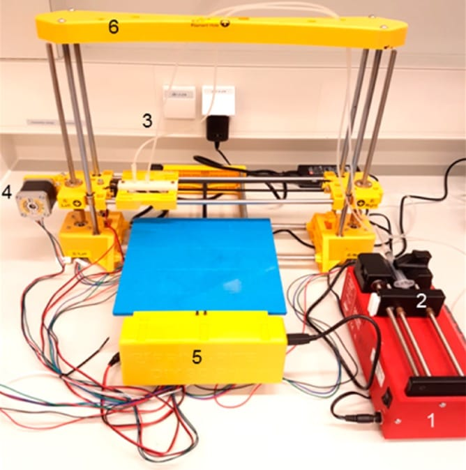 A desktop 3D printer adapted for bacteria-powered 3D printing