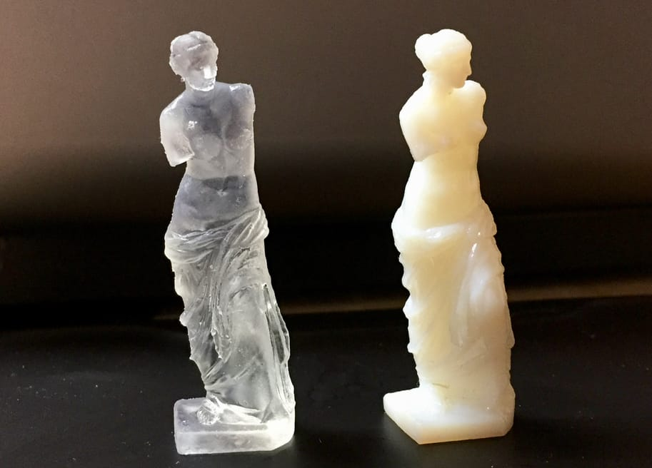 A Form 2 3D print (left) compared to a Stratasys Connex 260 print (right)