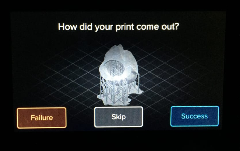 The very simple yet powerful feedback mechanism you see after each print on the Form 2 desktop 3D printer