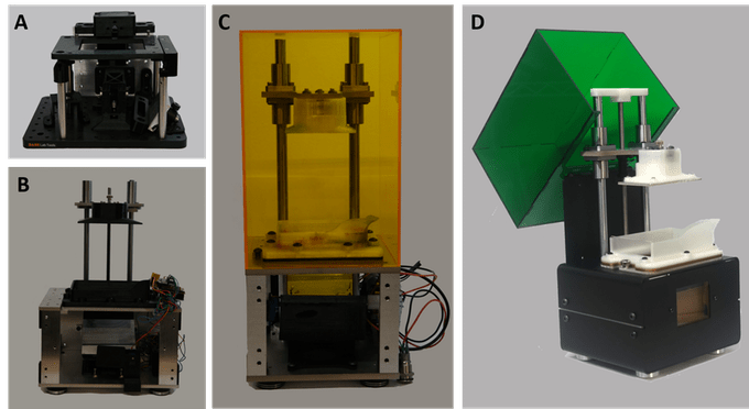 A sequence of prototypes leading up to the final production model of the MONO1 3D printer