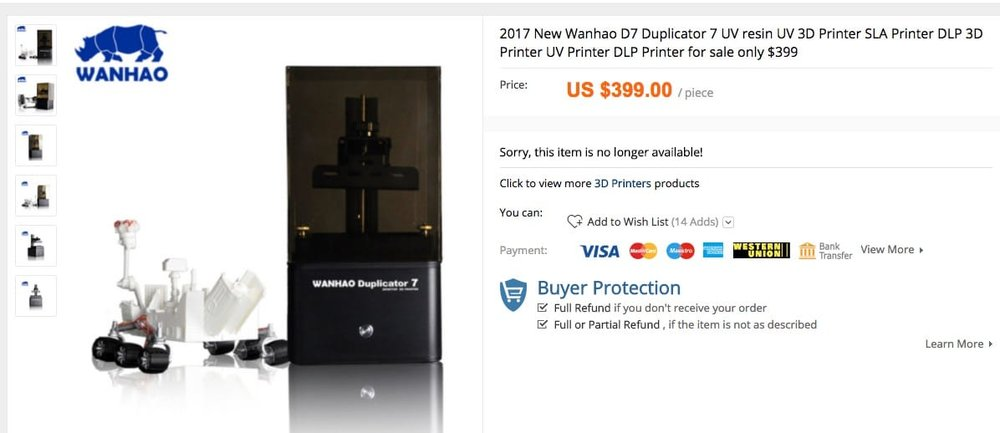 The Wanhao Duplicator was offered at USD$399 for a time, apparently