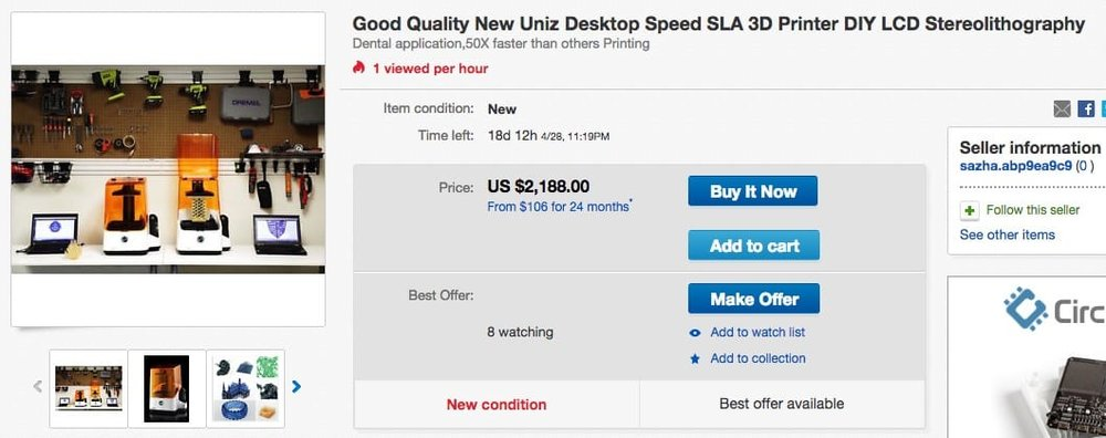 Someone is selling a UNIZ SLASH 3D printer on eBay