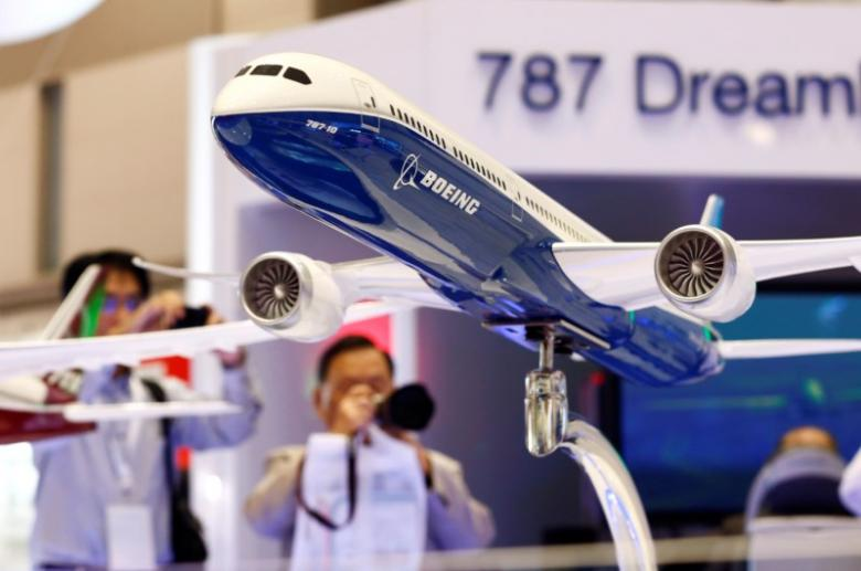 A Boeing 787 model, courtesy Reuters