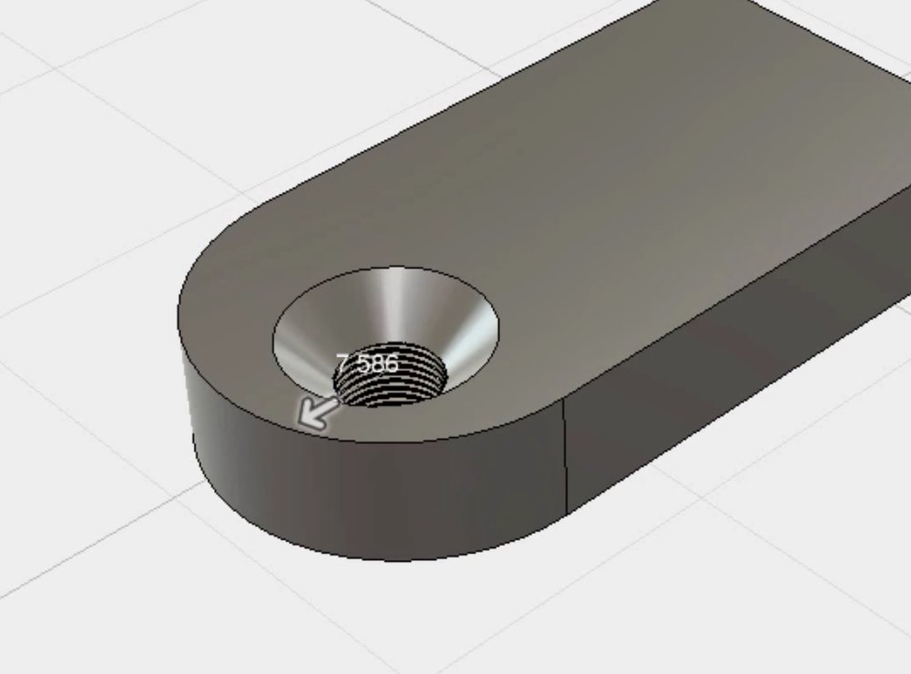 Designing a threaded hole in 3D