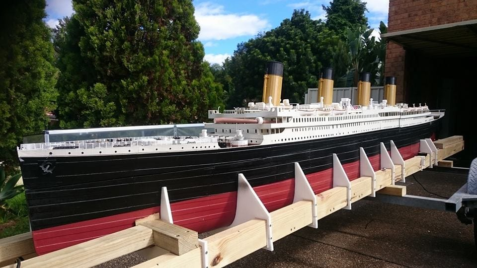 The 3D printed 1/72 model of the Titanic mounted on a boat trailer for transport