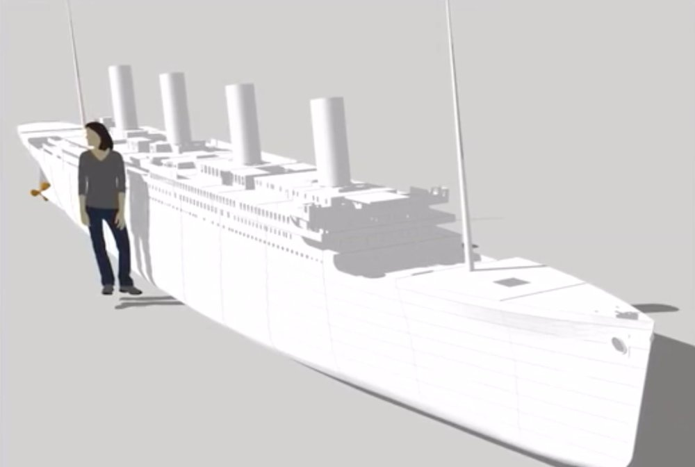 The size of the much larger Titanic replica