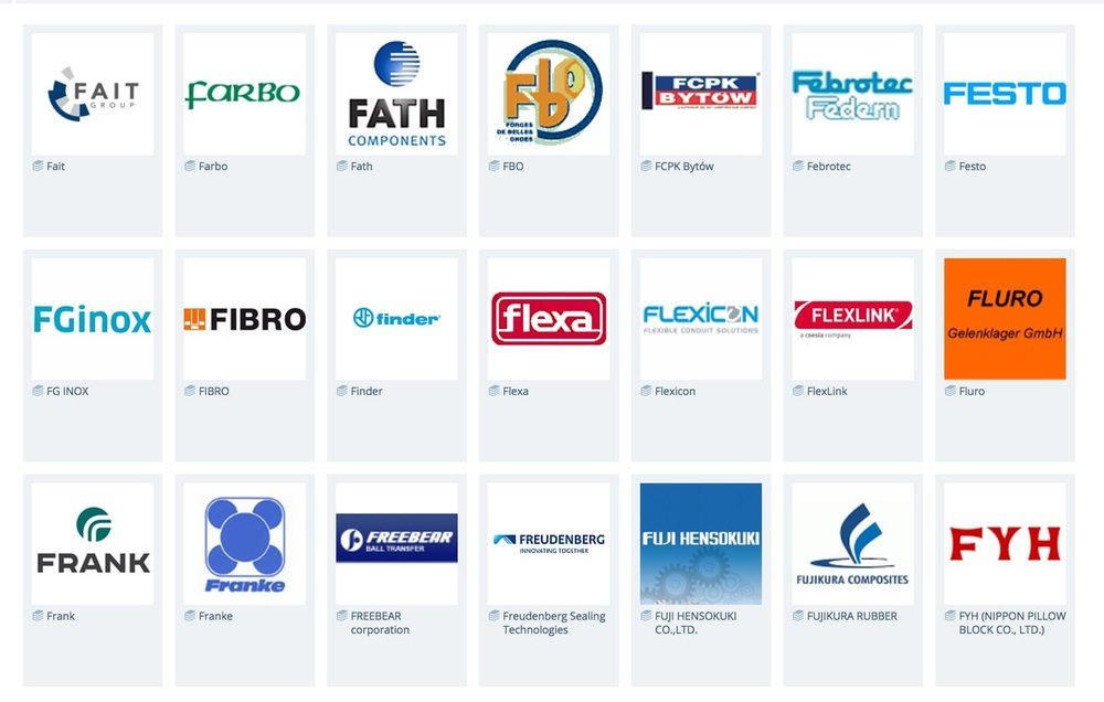 Some of the parts catalogs filled with CAD parts at PARTcommunity