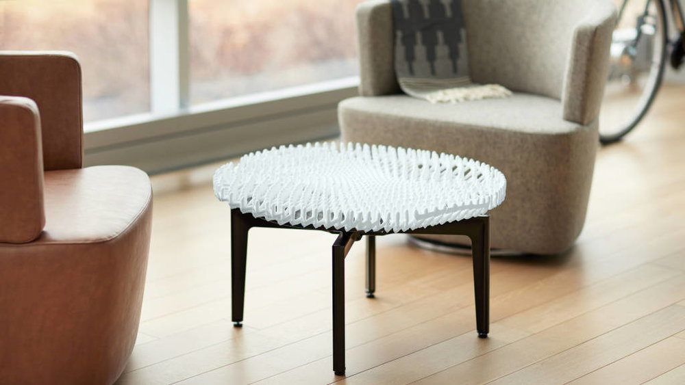 Partially 3D printed furniture from Steelcase & MIT's rapid liquid printing process