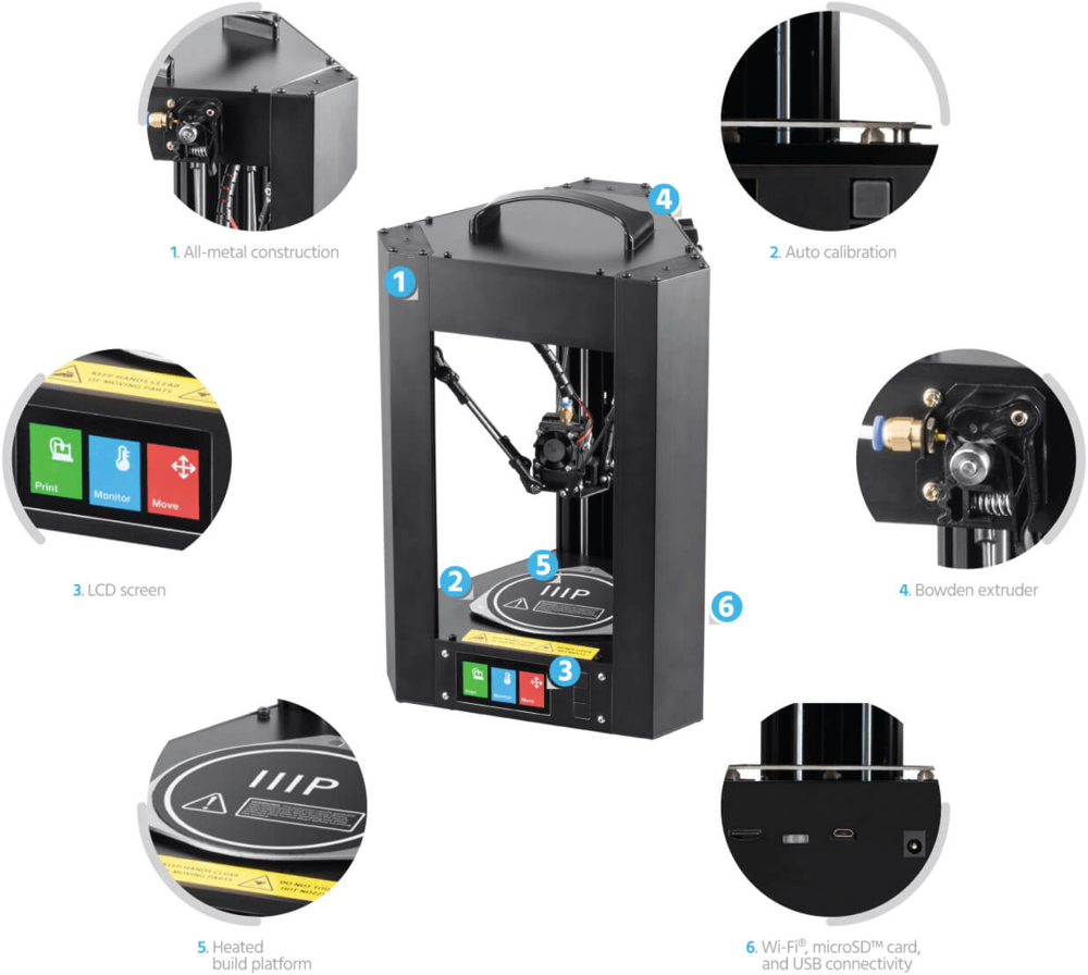 Features of the upcoming Monoprice MP Mini Delta 3D printer