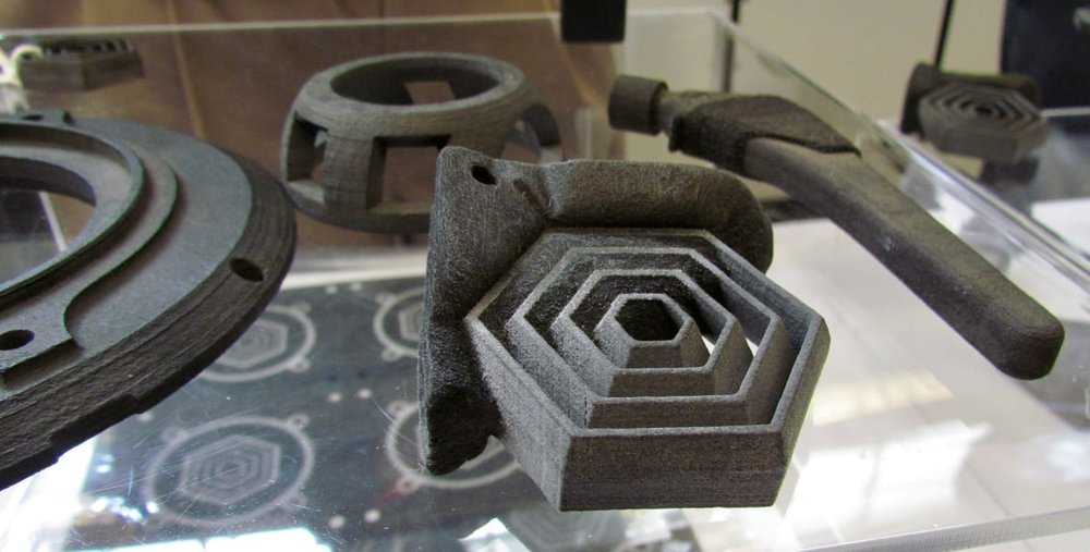 Sample parts from the Impossible Objects composite 3D printer