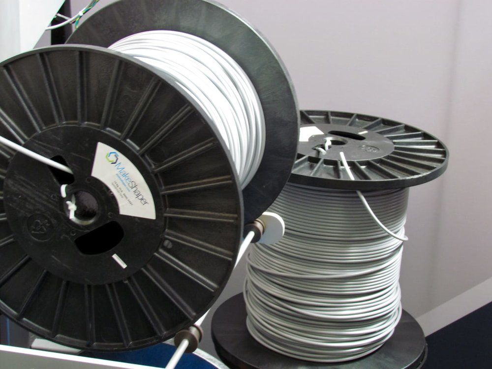 Prototype six mm diameter 3D printer filament used by 3D Platform