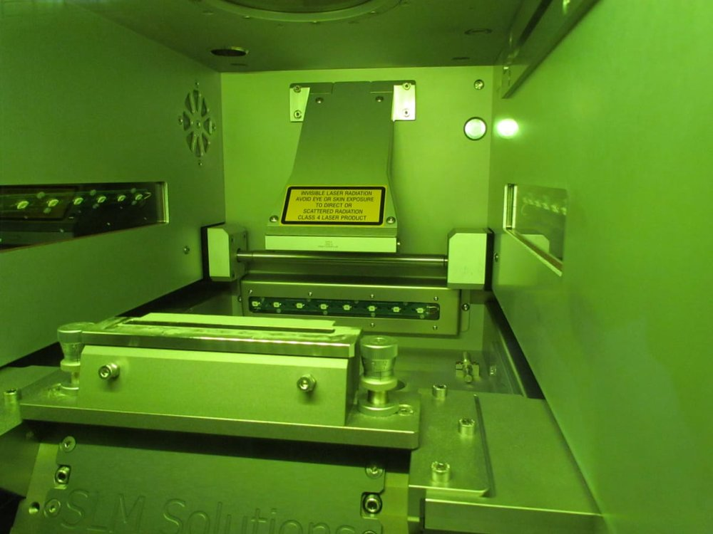 Inside the build chamber of SLM Solution's 3D metal printer