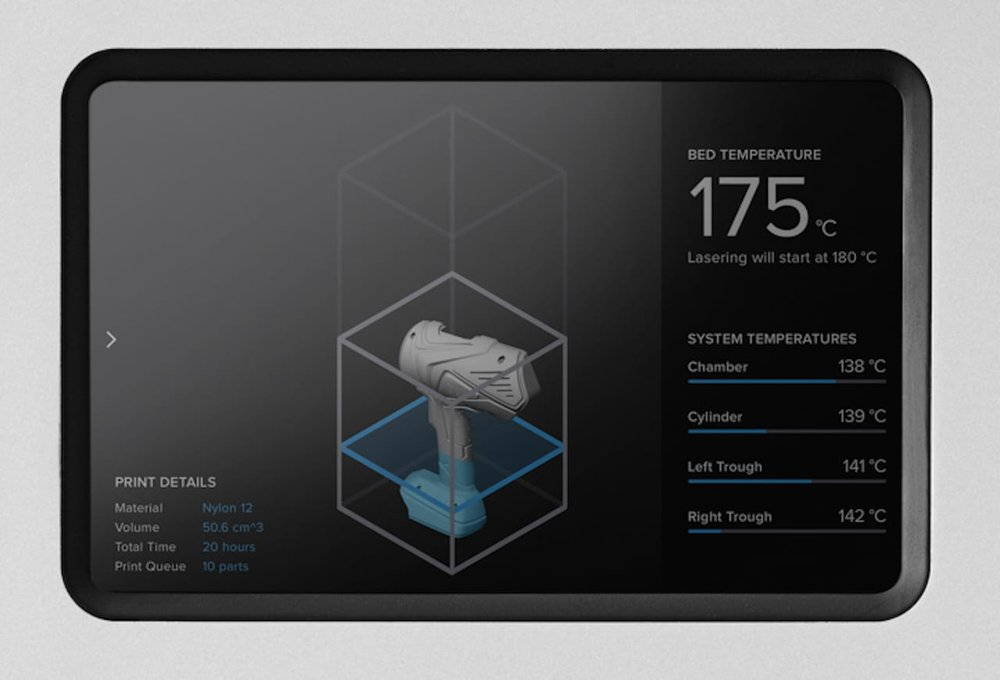 A view of the beautifully designed control panel on the new Formlabs Fuse 1 SLS 3D printer