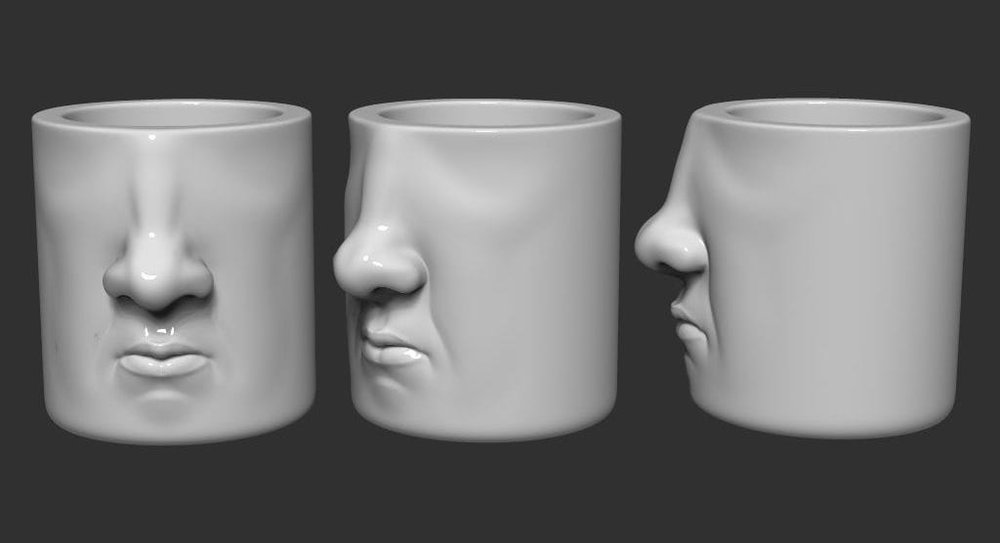 Three views of the 3D printed Face Mug