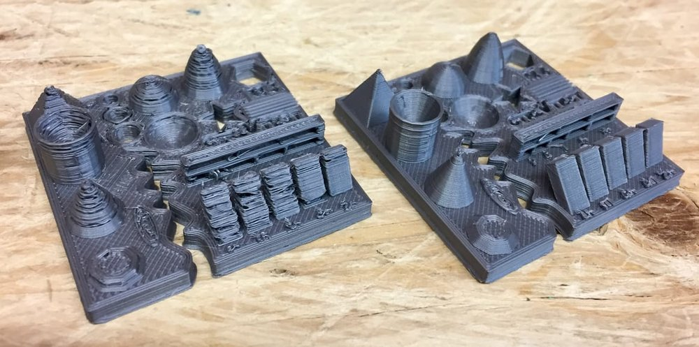 Two test prints on the Original Pruse i3 desktop 3D printer, one with tuned settings