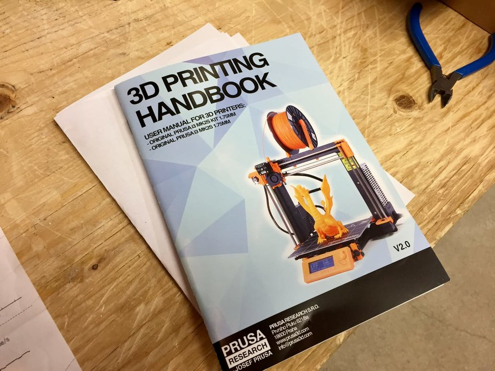 Detailed instructions in a handbook included with the Original Pruse i3 desktop 3D printer