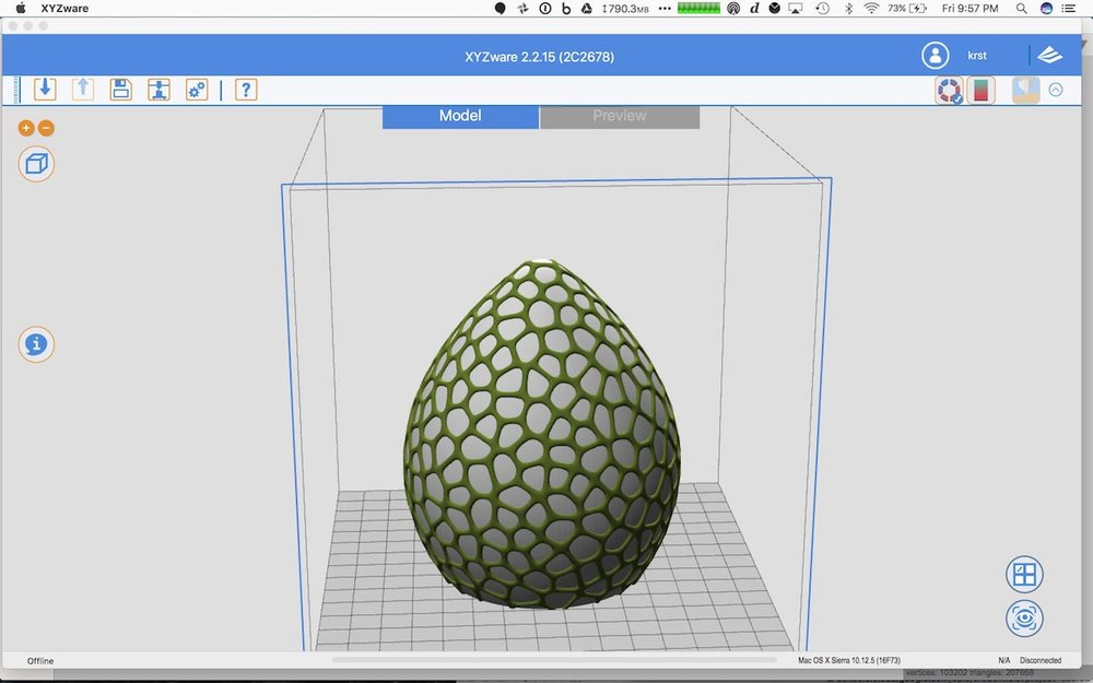 XYZware permits you to specify different materials for two sections of an object