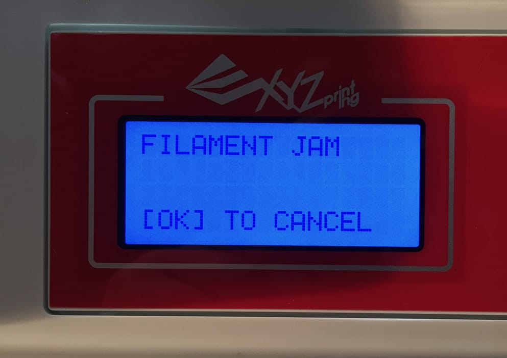 A filament jam automatically detected by the da Vinci Jr. 2.0 Mix
