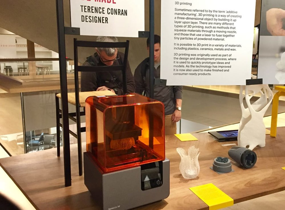 A Form 2 dekstop 3D printer is on display at London's Design Museum