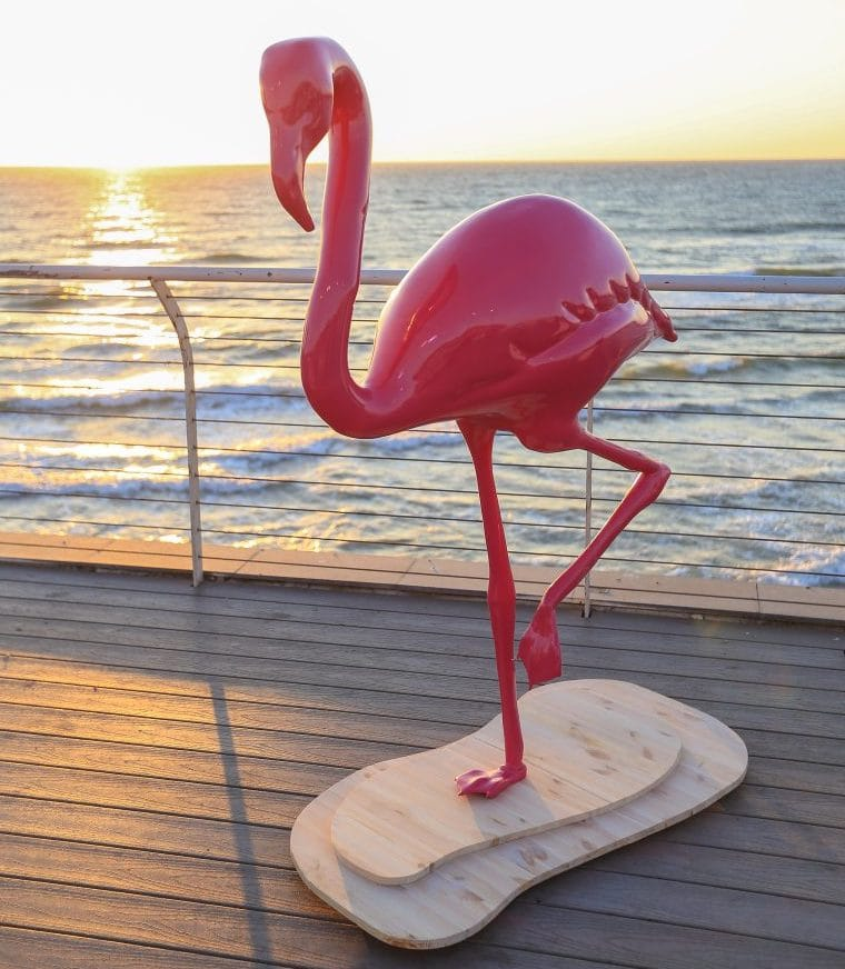 A gigantic 3D printed flamingo made by Massivit 3D