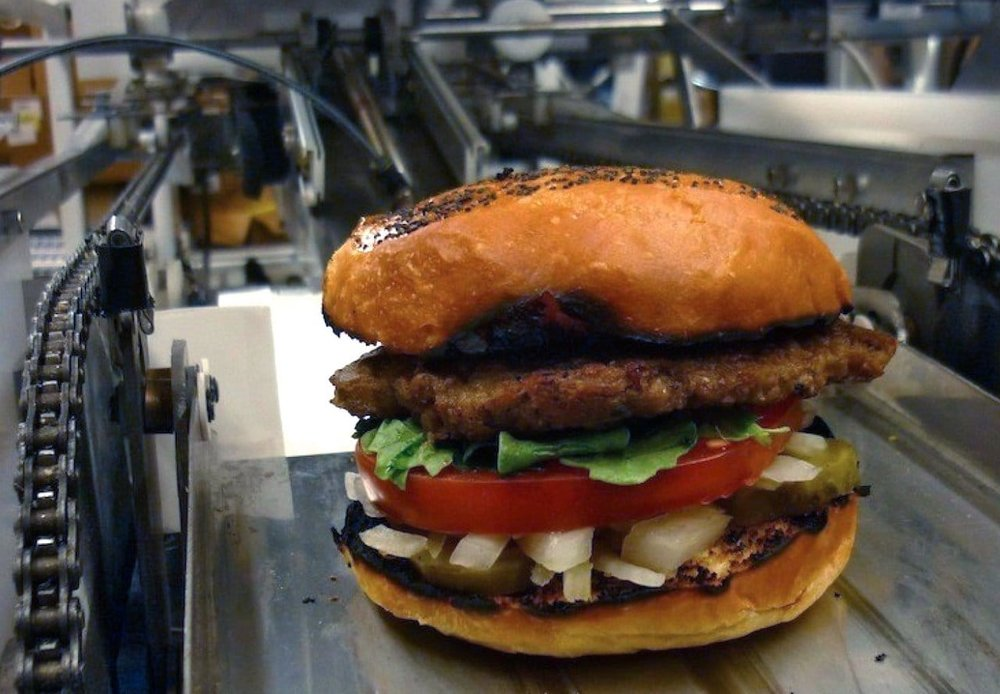 A robotically assembled hamburger; could the same approach be used for 3D printing?