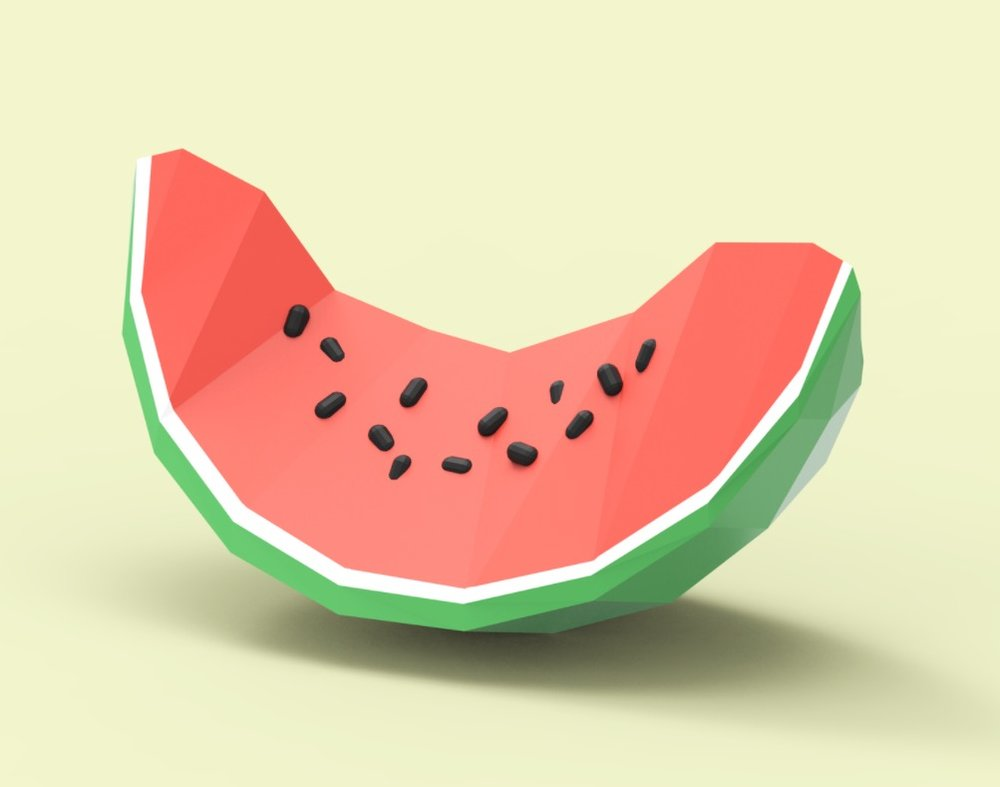 A 3D watermelon model, designed in Google Blocks