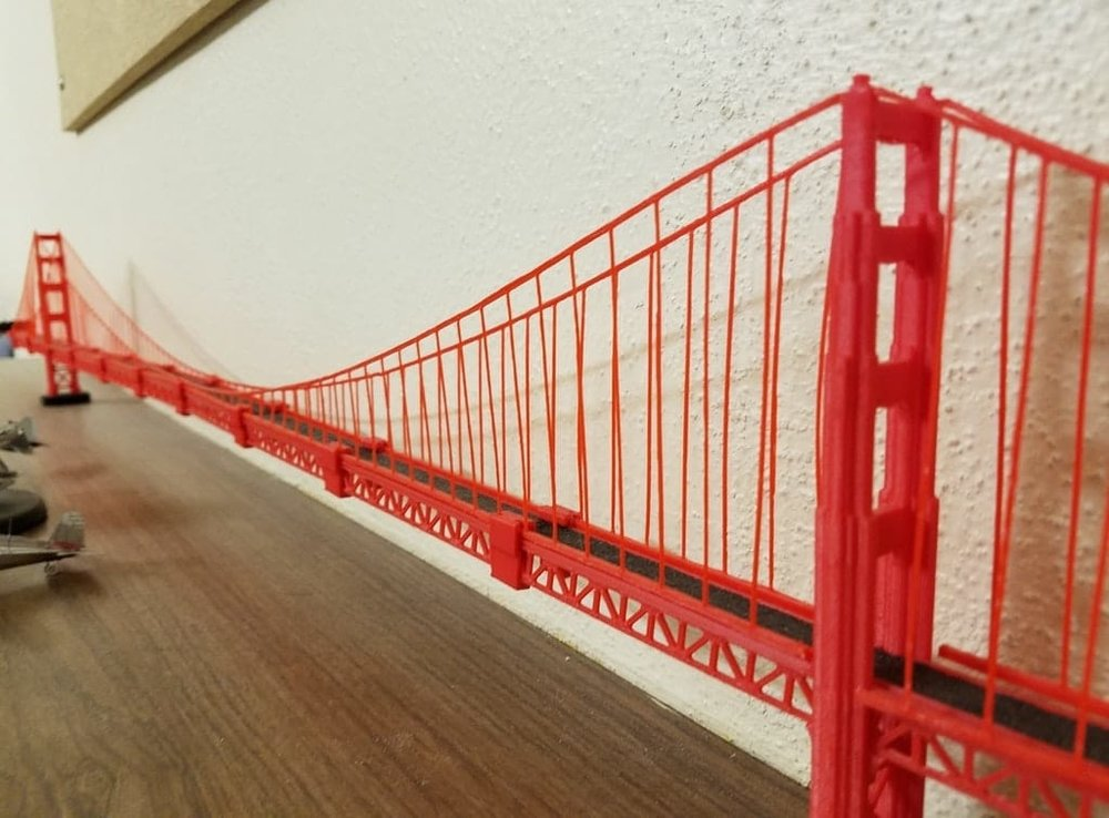 A massive 3D printed replica of the Golden Gate Bridge