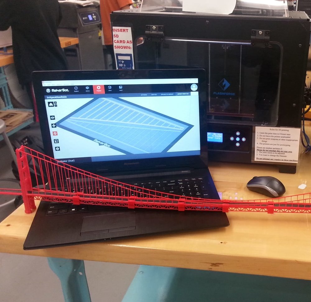 Developing components for the 3D printed Golden Gate Bridge replica