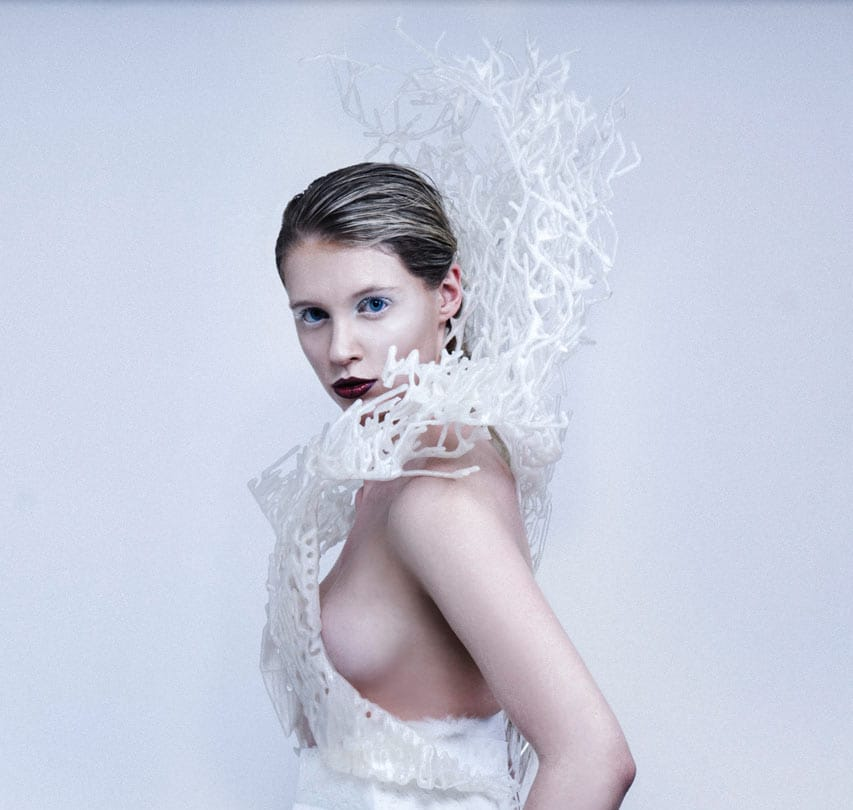 The 3D printed Bristle Dress by Bitonti Studio