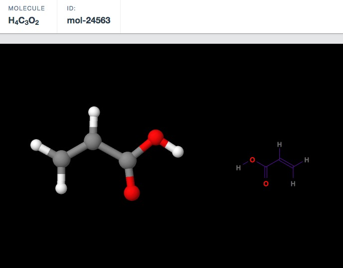 A molecule's statistics as shown in the Materials Project