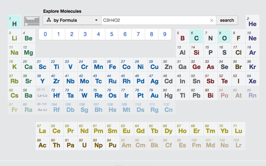 Searching for a particular molecule in the Materials Project