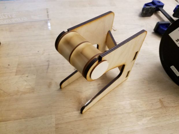 A rather fancy laser-cut 3D printer spool holder