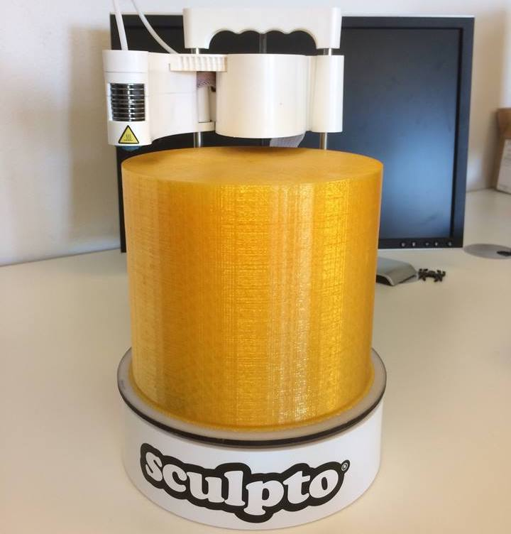 Here's the maximum build volume on the Sculpto desktop 3D printer
