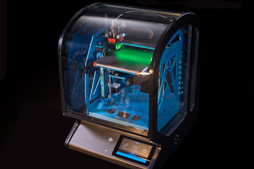 The AONIQ professional desktop 3D printer, capable of printing in PVC plastic