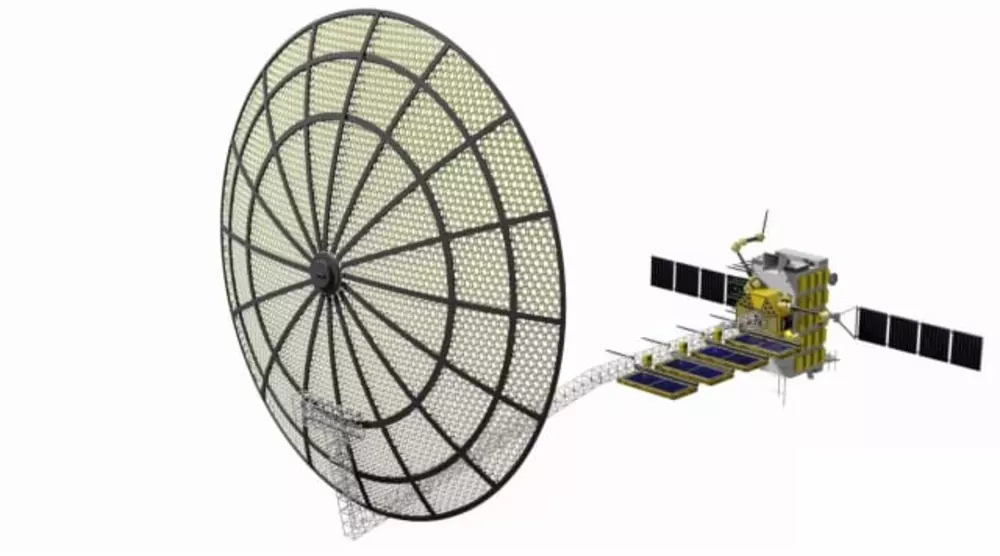 A diagram of the Archinaut system assembling a satellite in space. (Image courtesy of Made In Space.)