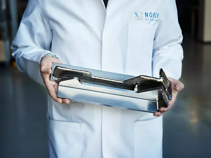 A part 3Dprinted by Norsk Titanium for Boeing. (Image courtesy of Norsk.)