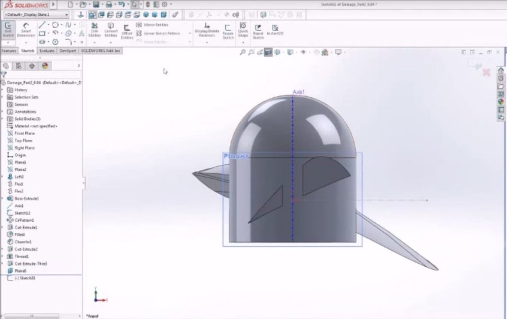 Introducing a flaw into a 3D model using Solidworks