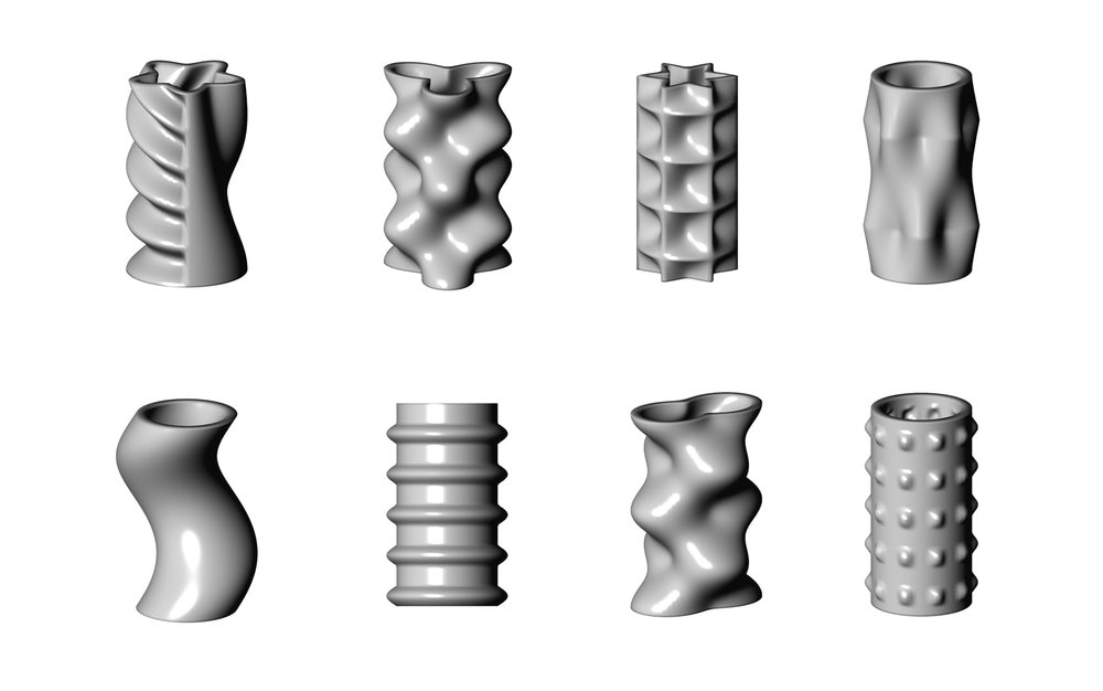 Examples of some of the shape-morphing effects possible in PotterDraw