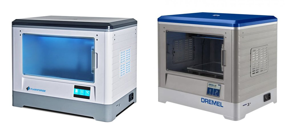 The original Dremel 3D20 desktop 3D printer (right) and the Flashforge model (left) upon which it was based